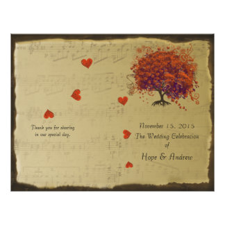 Orange & Purple Heart Leaf Tree Wedding Program Flyer
