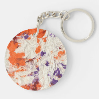 orange purple red wrinkled paper towel design Double-Sided round acrylic key ring
