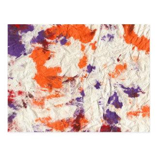 orange purple red wrinkled paper towel design postcard