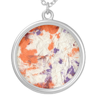 orange purple red wrinkled paper towel design round pendant necklace