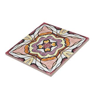 Orange Purple Retro Chic Nouveau Deco Pattern Tile