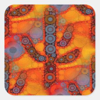 Orange Purple Southwestern Saguaro Cactus Mosaic Square Sticker