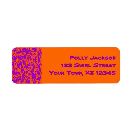 Orange & Purple Swirl Return Address Label