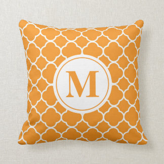 Orange Quatrefoil Monogram Letter Throw Pillow