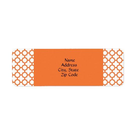 Orange Quatrefoil Pattern Return Address Label