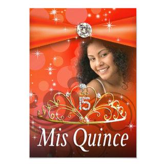 Orange Quinceanera 15 Princess Tiara  Photo Custom Invites