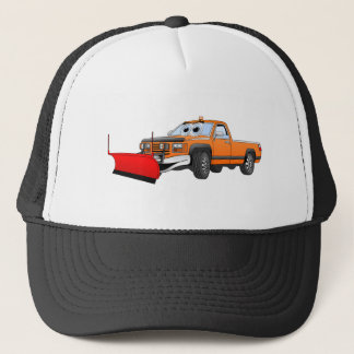 Orange R Snowplow Pick Up Cartoon Trucker Hat