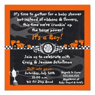Orange Race Car Baby Shower Invitations