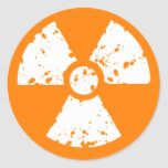 Orange Radioactive Symbol Round Sticker