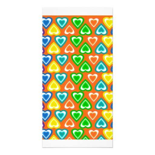 orange rainbow hearts pattern picture card