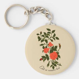 Orange Rambling Rose with Ladybug Key Ring