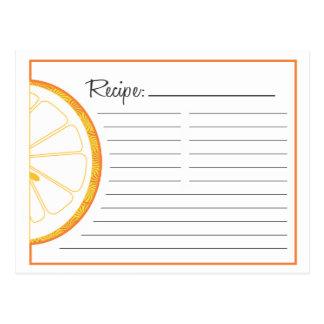 Orange Recipe Card Postcard