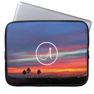 Orange red and blue sunrise photo custom monogram laptop sleeve