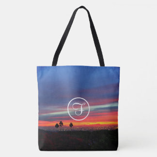 Orange red and blue sunrise photo custom monogram tote bag