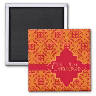 Orange & Red Arabesque Moroccan Graphic Square Magnet