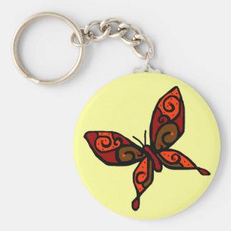 Orange red butterfly key chain