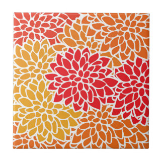 Orange Red Colorful Flower Retro Modern Small Square Tile