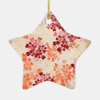 Orange Red & Cream Flowers Retro Ceramic Star Decoration