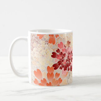 Orange Red & Cream Flowers Retro Coffee Mug