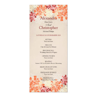 Orange Red & Cream Flowers Retro Wedding Program 10 Cm X 24 Cm Invitation Card