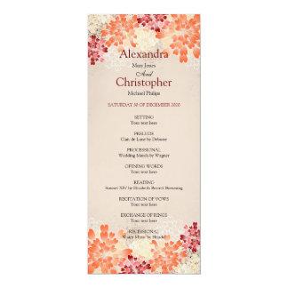 Orange Red & Cream Flowers Retro Wedding Program 10 Cm X 24 Cm Invitation Card