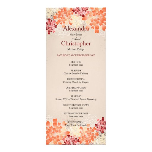 Orange Red & Cream Flowers Retro Wedding Program Personalized Invite
