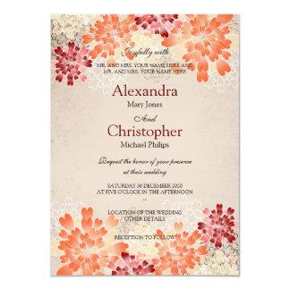 Orange Red & Cream Flowers Retro Wedding S3 11 Cm X 16 Cm Invitation Card