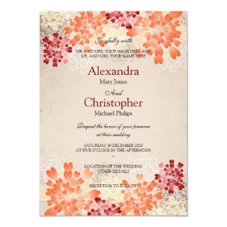 Orange Red & Cream Flowers Retro Wedding S3 Card