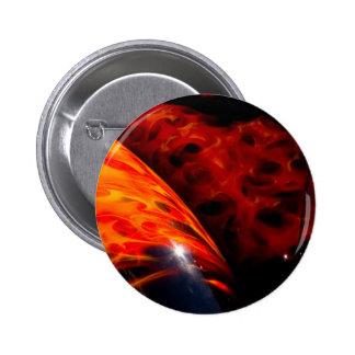 Orange Red Flames Paint Classic Car Bumper 6 Cm Round Badge