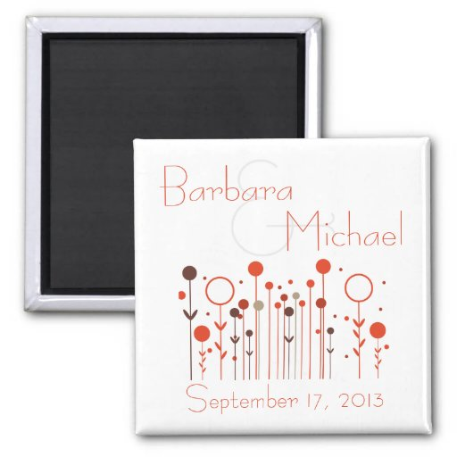 Orange Red Floral Dot Save the Date Wedding Magnet