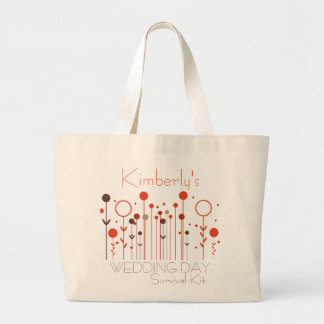 Orange Red Floral Dot Wedding Day Survival Kit Bag