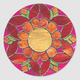Orange & Red Flower Stained Glass Look Classic Round Sticker