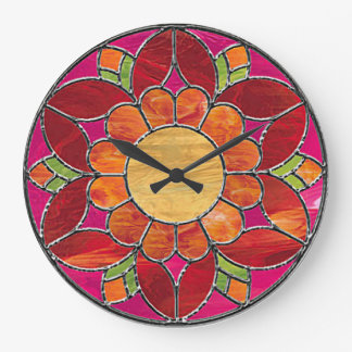 Orange & Red Flower Stained Glass Look Wall Clock
