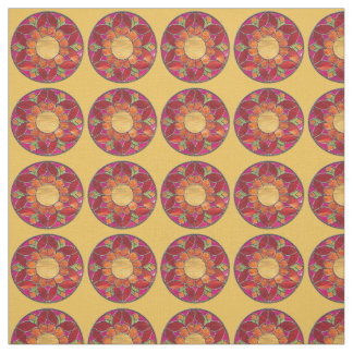 Orange & Red Flower Stained Glass Look Fabric