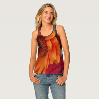 Orange Red Flowers Floral Photography Singlet