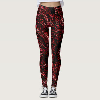 Orange Red Goth Roses Leggings