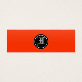Orange Red Gothic Monogram Mini Business Card