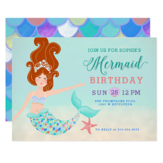 Orange Red Hair Pale Skin Mermaid Birthday Party Card
