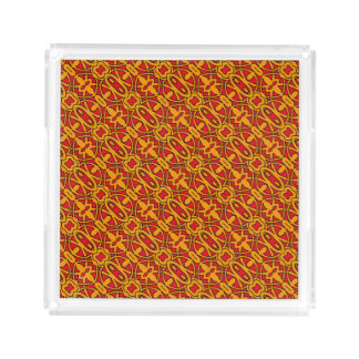 Orange & Red Hand Drawn Pattern Acrylic Tray