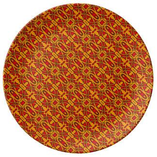 Orange & Red Hand Drawn Pattern Plate