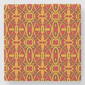 Orange & Red Hand Drawn Pattern Stone Coaster