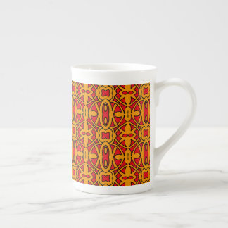 Orange & Red Hand Drawn Pattern Tea Cup