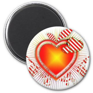 Orange red heart artistic illustration fridge magnet