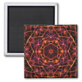 Orange Red Kaleidoscope Fridge Magnet