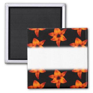 Orange - Red Lily Flowers on Black. Refrigerator Magnets