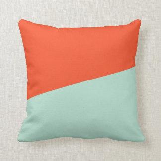 Orange Red + Magic Mint Throw Pillow