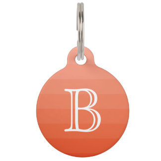 Orange Red Stripes Monogram Initial Simple Pet Name Tag