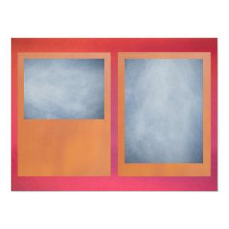 Orange Reddish Pink 17 Cm X 22 Cm Invitation Card