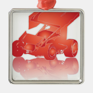 Orange Reflection Winged Sprint Car Metal Ornament
