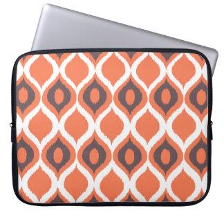 Orange Retro Geometric Ikat Tribal Print Pattern Laptop Sleeve